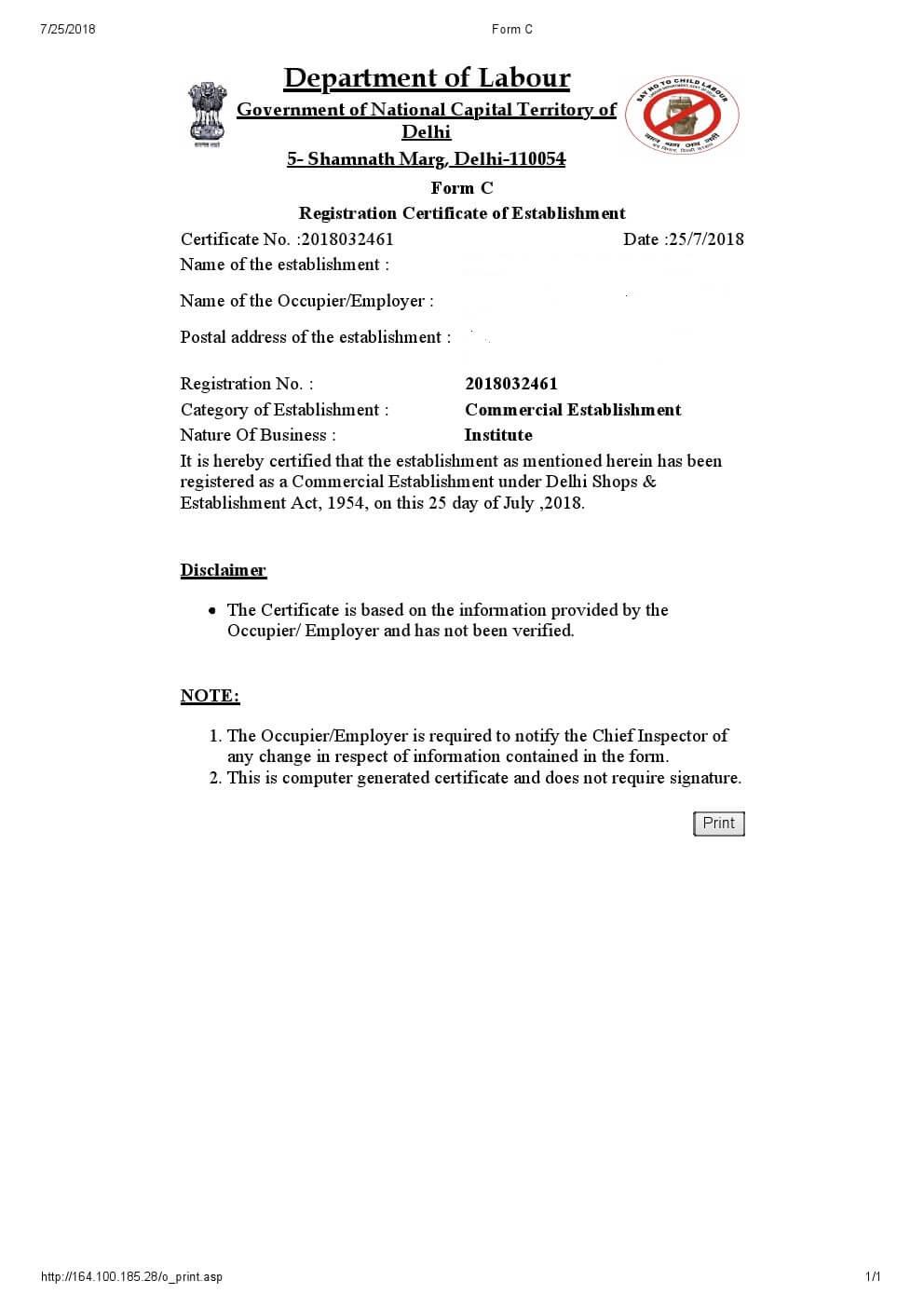 shop and establishment registration delhi